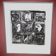 """FIEDLER """"The Beginning of Us"""" Modernist Figural Abstract Lithograph, 10/50"""