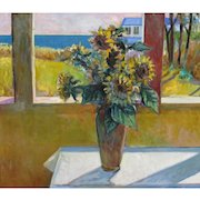 ROBERT FRAME, Listed California Modern, Sunflowers in a Window by the Sea, Oil