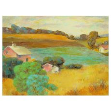 VIOLA SMITH FRENCH, Listed California artist, Houses in a Country Landscape, oil