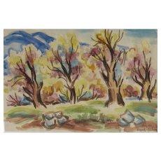 DAVID GILBOA, Listed Israeli, Safed, Israel Grove of Trees, watercolor and pencil