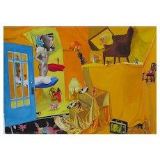 "NILLY GILL San Diego California Modernist Throne of Fear 1995 30"" x 42"" watercolor"