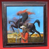 JACKSON MOREY HENSLEY, Listed, Huge original oil, THE ARABIAN, Artist's daughter & horse