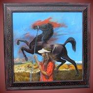 JACKSON MOREY HENSLEY, Listed, Huge original oil, THE ARABIAN, Artist's daughter & horse