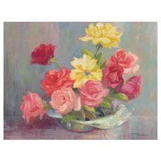 MARY JARRETT, Listed California, Still Life with  Bowl of Roses, oil