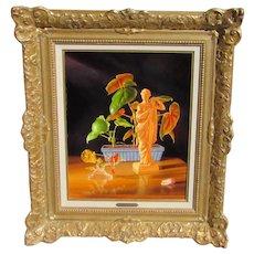 ROBERT JOHANNINGMEIER, Listed, Still life with Greek Goddess & Glass Hummingbird, oil