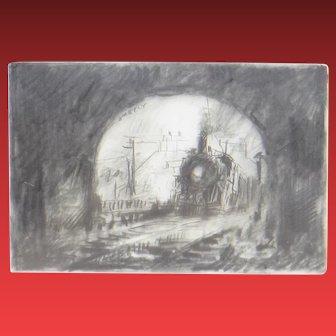 JOHN KELLY, Listed (b. 1939), Original Miniature Pencil Drawing Train Entering a Tunnel