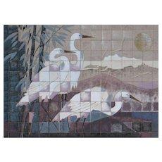 JAMES LEE Listed South Korea/Arizona, Egret Birds, Gouache & mixed media was $1200