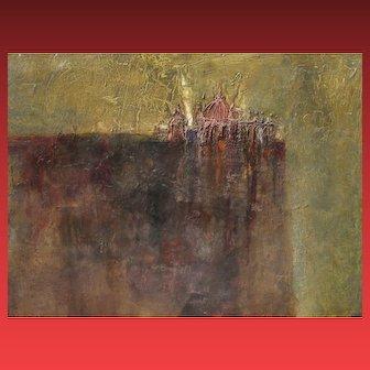 BLAIR LENT, Listed, Won Caldecott Medal, Modernist City on Edge, 1960, oil & Mixed Media
