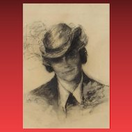 SALLY LUSTIG, Listed New York/Romania, Portrait of Stephanie, Circa 1930's, Charcoal-Gallery Price was $12,345