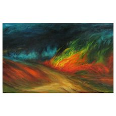 PAUL MAIK Listed French Modernist Mid Century oil Flames of the Night