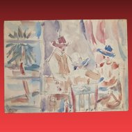 JAMES McCRAY, Listed California Modernist, Figures Playing Cards, 1941, w/c