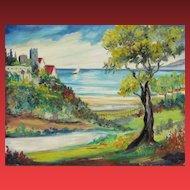 REEVA MILLER LEVINE, Listed, Mid Century Expressionist, Medievil Village & Castle, oil
