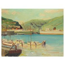 WILLIAM ARTHUR PAXTON, Lyttelton Port for Christchurch, South Island, New Zealand, oil