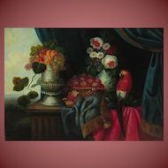 PICKENHAGEN 20th Century Still Life with Fruit, Flowers & Macaw Parrot