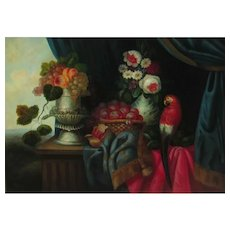 PICKENHAGEN 20th Century Still Life with Fruit, Flowers & Macaw Parrot
