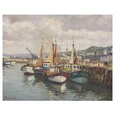 SAULIN Mid Century French artist Fishing Boats at Rest Honfleur