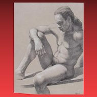 ROBERT SCHEFMAN, Listed, Seated Nude Man, Charcoal