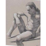 ROBERT SCHEFMAN, Listed, Seated Nude Man, Charcoal