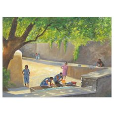 LEONARD SCHEU Listed Wash Day in a Portugal Square Acrylic
