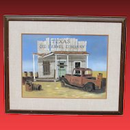 CLAUDE SCHNEIDER, Old Truck at rural Texas Oil Barrel Co., pastel