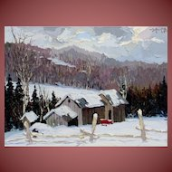 CHRISTO STEFANOFF  Listed Winter Scene, Laurentian, Canada oil and palette knife