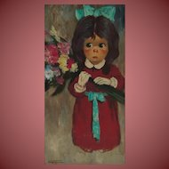 HAROLD C. STEPHENSON aka Abruzzi, Big Eyed Girl Holding a Floral Bouquet, oil