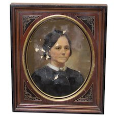 19th Century Portrait of a Victorian Woman in a Period Frame with Design