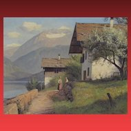 NIELS WALSETH, Listed Denmark, Swiss Scene oil (his most popular scene!)
