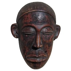 Vintage Traditional African mask with Tatoo Patterning was $475