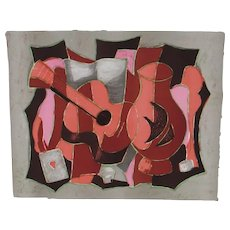 TONY AGOSTINI Listed Cubist Guitar & Vase S/N edition of 275  Lithograph