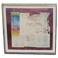 MORRIS BRODERSON Listed California Modernist Hommage to Anne Frank, mixed media