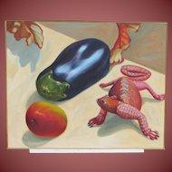 JO CALDWELL, San Diego, California artist, Lizard and Eggplant, oil (Orlando Gallery)