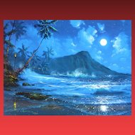 JAMES COLEMAN, Listed Disney Artist, Moon Over Diamond Head, S/N Lithograph