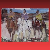 JAMES COLT, Listed Western, Three Riders, mixed media