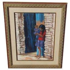 Virginia Copp?  Mid Century Modern Woman & Child in a Brick Corridor, oil