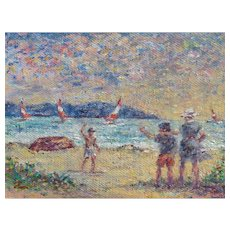 Philip Corley, Listed Florida, Beach Scene with Figures & Sailboats, oil