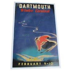 Vintage Dartmouth Winter Carnival Original American Ski Poster 1940