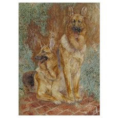 ETHELINDA, Listed New Mexico, Two German Shepherds, oil painting