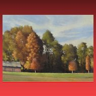 JOHN FOLCHI, New York Artist, Hudson Valley Landscape w Trees & House, oil