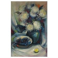 "OZZ FRANCA, Listed California, Mid Cent Still Life with Chrysanthemums, 36"" x 24"" oil"