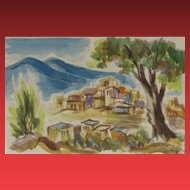 DAVID GILBOA, Listed Israeli, Safed, Israel City Scene, watercolor & pencil