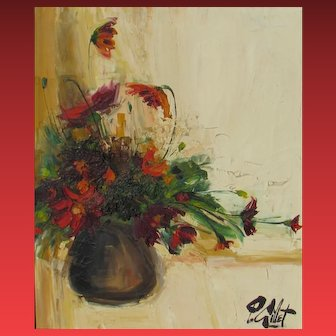 P. GILLET, Still Life with Flowers oil painting