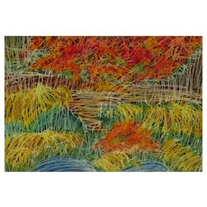 LYNNE S. GOLDMAN Abstract Expressionist m/m Autumn Grasses Jerry Solomon Frame