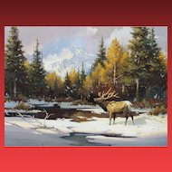 Sherry L. Gribben, Listed Western, Elk in the Snow, watercolor, was $1600