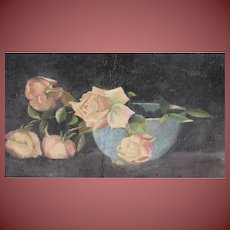 Nels Hagerup (Attributed to) Rare Floral Still Life with Roses in a Bowl oil