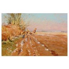 JOHN HASKINS, Listed U.K., The Hunt, oil painting