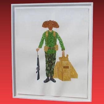 ADAM HELMS, Listed Modernist, Zombie Soldier, Standing NFA Irregular #1, Gouache