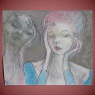 ROBERTO VALENTIN HERNANDEZ, Cuban Master, Perplexed Woman & Devil Woman, mixed media