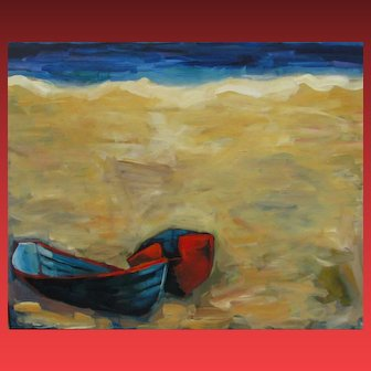 MARILOU HOGEBOOM California Modernist Two Beached Boats oil