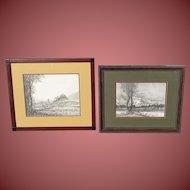 OSCAR KLEIN, Listed, Pair of Mid Century Austria Landscape & Trees Scene